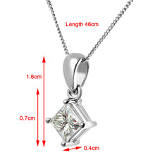 Load image into Gallery viewer, 18ct White Gold 3/4 Carat J/I Certified Princess Cut Diamond Solitare Pendant + Chain