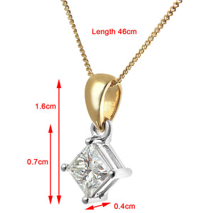 18ct Yellow Gold 3/4 Carat J/I Certified Princess Cut Diamond Solitare Pendant + Chain