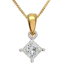 Load image into Gallery viewer, 18ct Yellow Gold 3/4 Carat J/I Certified Princess Cut Diamond Solitare Pendant + Chain