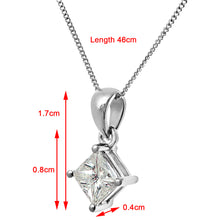 Load image into Gallery viewer, 18ct White Gold 1 Carat J/SI Certified Princess Cut Diamond Solitare Pendant + Chain