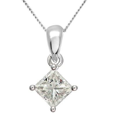 18ct White Gold 1 Carat J/SI Certified Princess Cut Diamond Solitare Pendant + Chain