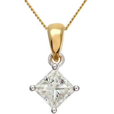 18ct Yellow Gold 1 Carat J/SI Certified Princess Cut Diamond Solitare Pendant + Chain