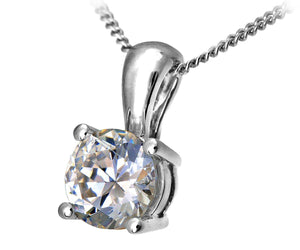 18ct White Gold 1.50ct Certified IJ/I Diamond Solitare Pendant + Chain