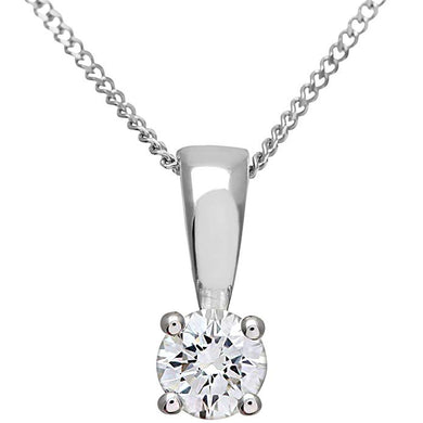 18ct White Gold 2.00ct Certified IJ/I Diamond Solitare Pendant + Chain
