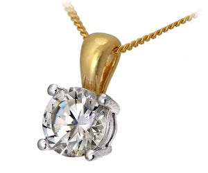 18ct Yellow Gold 2.00ct Certified IJ/I Diamond Solitare Pendant + Chain