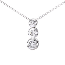 Load image into Gallery viewer, 9ct White Gold 0.15ct Diamond Trilogy Pendant and Chain of 46cm