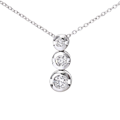 9ct White Gold 0.15ct Diamond Trilogy Pendant and Chain of 46cm