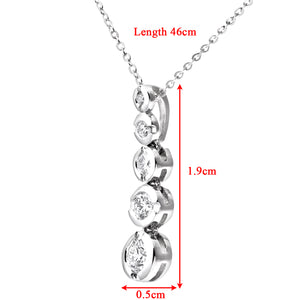 9ct White Gold 0.25ct Graduated Diamond Pendant and Chain of 46cm
