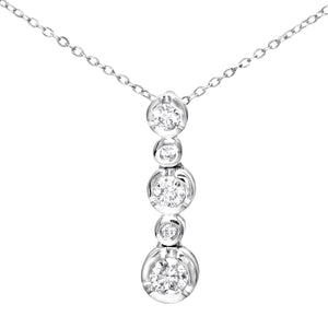 9ct White Gold 0.25ct 5-Stone Diamond Pendant and Chain of 46cm