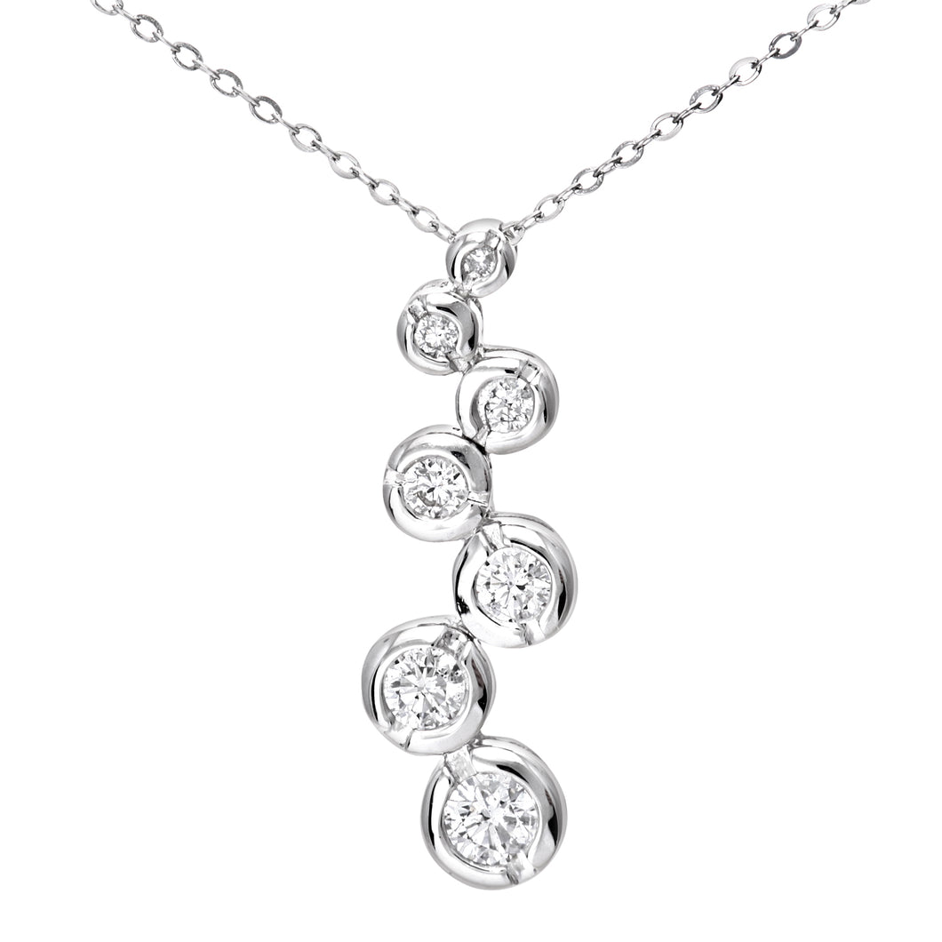 9ct White Gold 0.33ct 7-Stone Diamond Pendant and Chain of 46cm