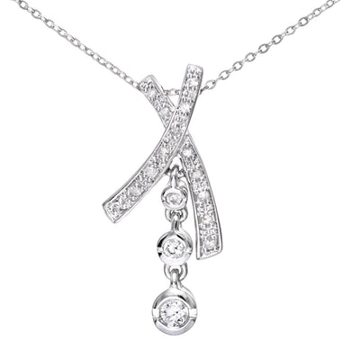 9ct White Gold 0.15ct Diamond Kiss and Drop Pendant and Chain of 46cm