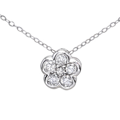 9ct White Gold 0.25ct Diamond Flower Cluster Pendant and Chain of 46cm