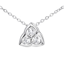 Load image into Gallery viewer, 9ct White Gold 0.15ct Diamond Petal Pendant and Chain of 46cm