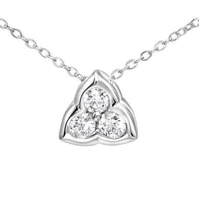 9ct White Gold 0.15ct Diamond Petal Pendant and Chain of 46cm