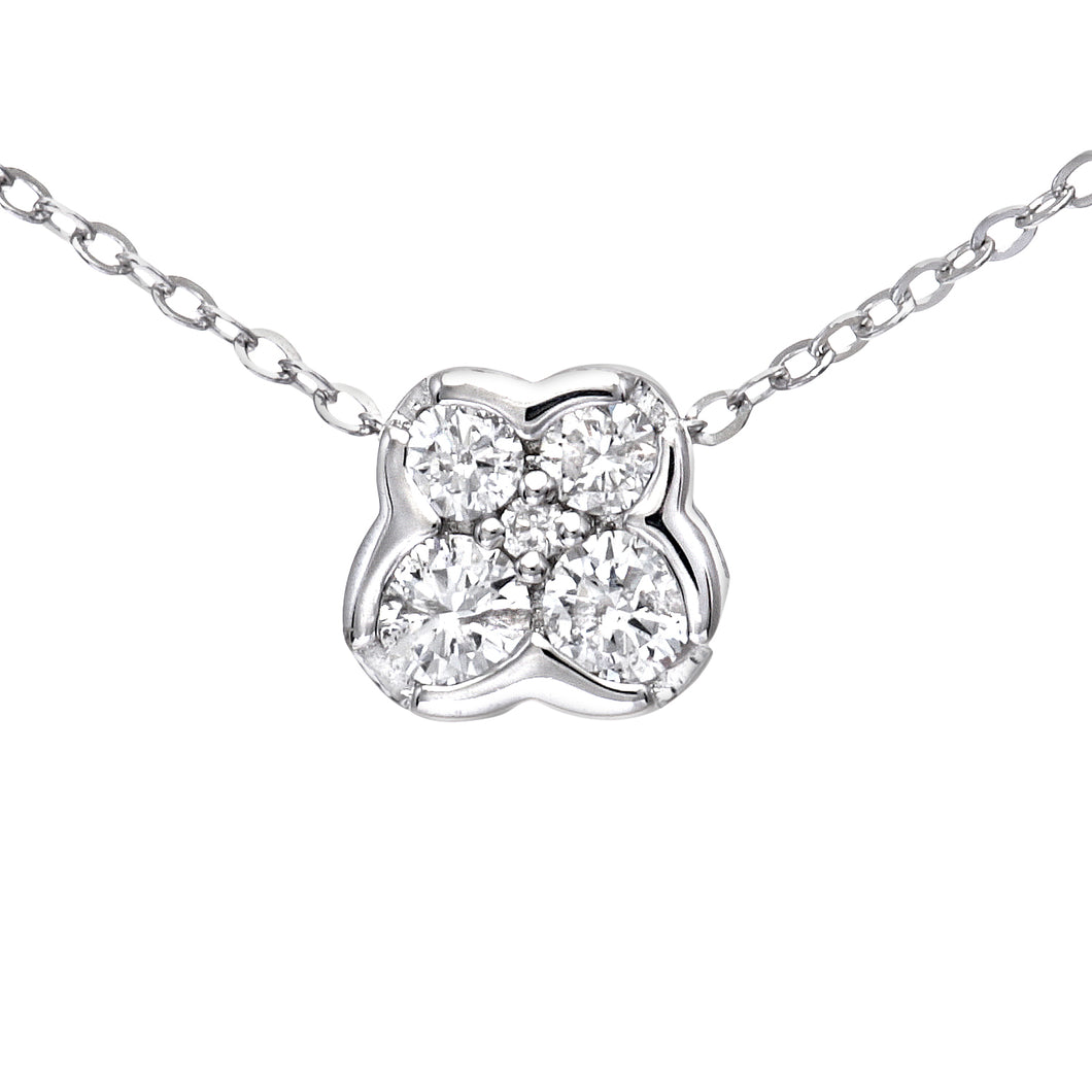 9ct White Gold 0.15ct Diamond Butterfly Pendant and Chain of 46cm