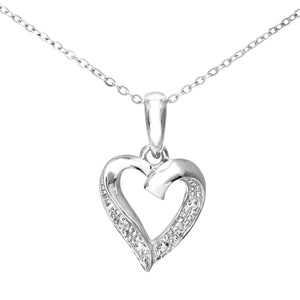 9ct White Gold Diamond Heart Pendant and Chain of 46cm