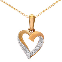 Load image into Gallery viewer, 9ct Yellow Gold Diamond Heart Pendant and Chain of 46cm