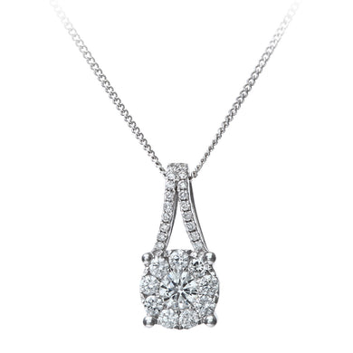 Round Brilliant 0.45ct I/I1 Certified Diamonds 18ct White Gold Cluster Pendant with Chain of 46cm
