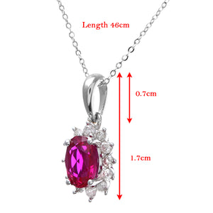 Round Brilliant 0.25ct Ruby and Diamond 9ct White Gold Oval Cluster Pendant with Chain of 46cm