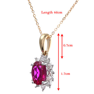 Round Brilliant 0.25ct Ruby and Diamond 9ct Yellow Gold Oval Cluster Pendant with Chain of 46 cm