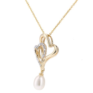 9ct Yellow Gold, 0.02ct Diamonds with White Cultured pearl Pendant