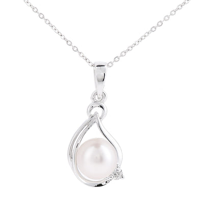 9ct White Gold, 0.03ct Diamond with White Cultured pearl Pendant