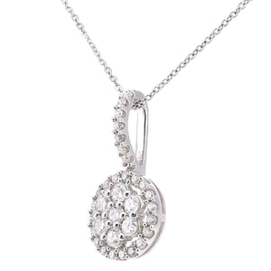 9ct White Gold Diamond Flower Cluster Pendant Necklace of Length 46cm