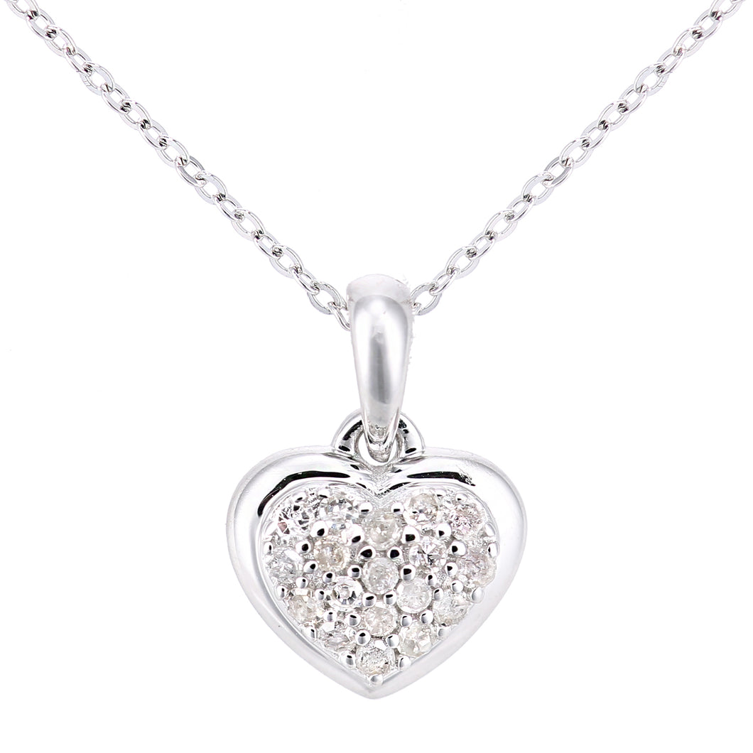 9ct White Gold Diamond Heart Pendant Necklace of Length 46cm