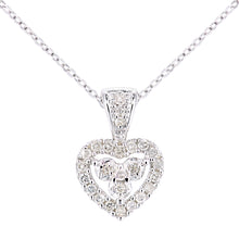 Load image into Gallery viewer, 9ct White Gold Diamond Hearts Pendant and Chain of Length 46cm