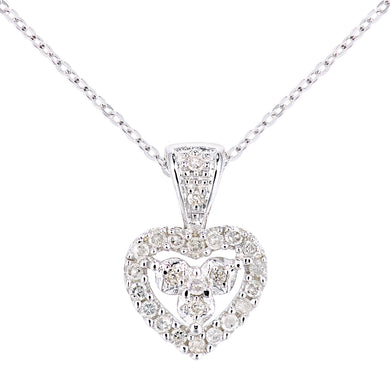 9ct White Gold Diamond Hearts Pendant and Chain of Length 46cm