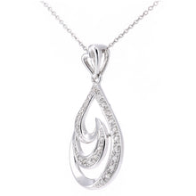 Load image into Gallery viewer, 9ct White Gold Diamond Teardrop Swirl Design Pendant Necklace of Length 46cm