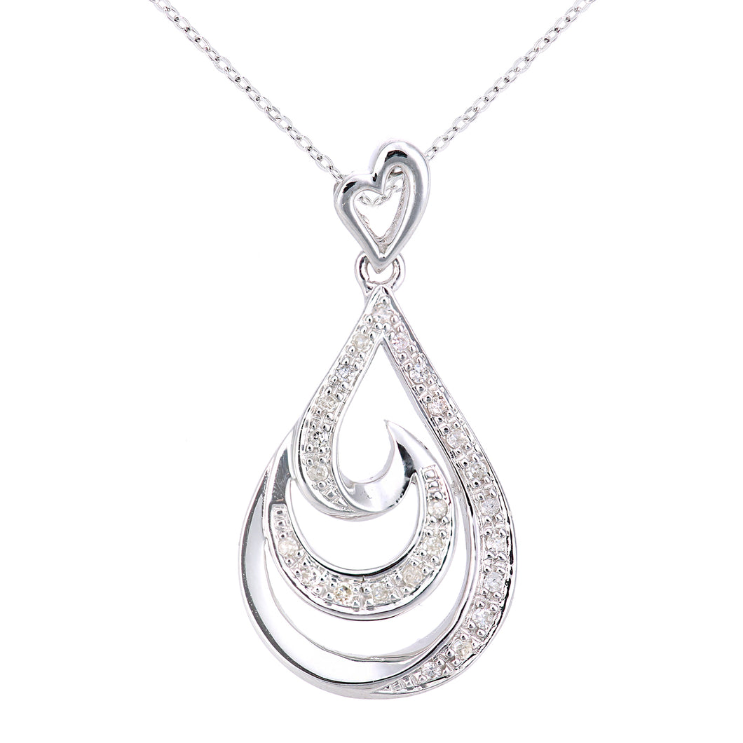 9ct White Gold Diamond Teardrop Swirl Design Pendant Necklace of Length 46cm
