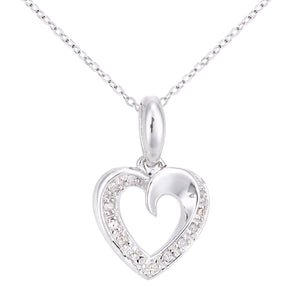 9ct White Gold Diamond Set Heart Pendant on a Chain of Length 46cm