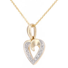 Load image into Gallery viewer, 9ct Yellow Gold Diamond Set Heart Pendant on a Chain of Length 46cm
