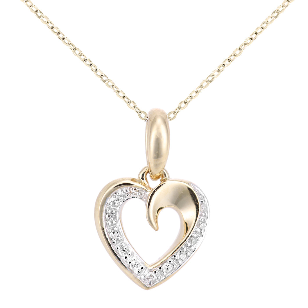 9ct Yellow Gold Diamond Set Heart Pendant on a Chain of Length 46cm