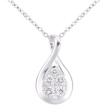 Load image into Gallery viewer, 18ct White Gold Diamond Twist Teardrop Design Necklace of Length 46cm
