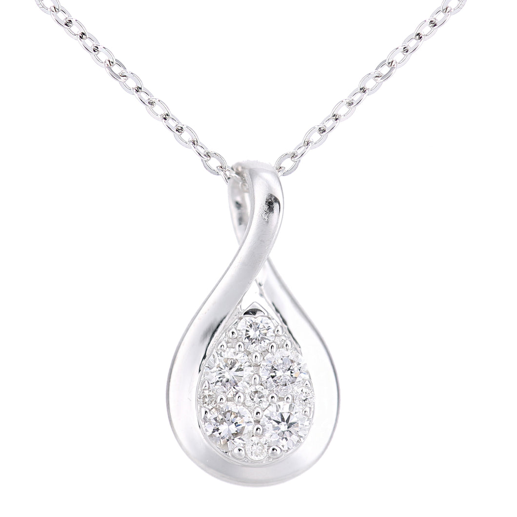 18ct White Gold Diamond Twist Teardrop Design Necklace of Length 46cm