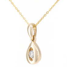 Load image into Gallery viewer, 9ct Yellow Gold Diamond Teardrop Pendant Necklace of Length 46cm