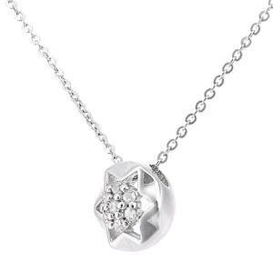 9ct White Gold Diamond Star Stud Pendant Necklace of Length 46cm