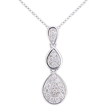 Load image into Gallery viewer, 18ct White Gold Diamond Teardrops Design Pendant Necklace of Length 46cm
