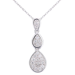 18ct White Gold Diamond Teardrops Design Pendant Necklace of Length 46cm