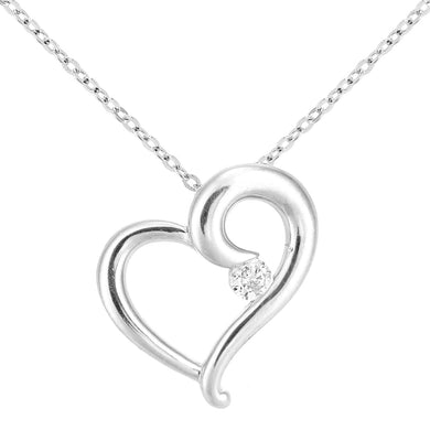 9ct White Gold Diamond Heart Necklace of Length 46cm