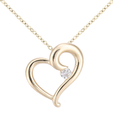 9ct Yellow Gold Diamond Heart Necklace of Length 46cm