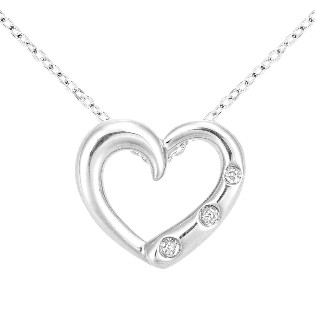 9ct White Gold Diamond Heart Pendant Necklace Three Stone Set of Length 46cm
