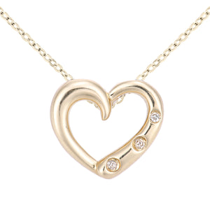 9ct Yellow Gold Diamond Three Stone Set Heart Pendant Necklace of Length 46cm