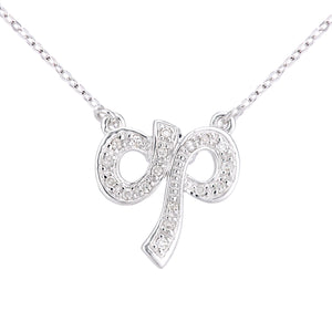 9ct White Gold Diamond Bow Necklet of Length 46cm