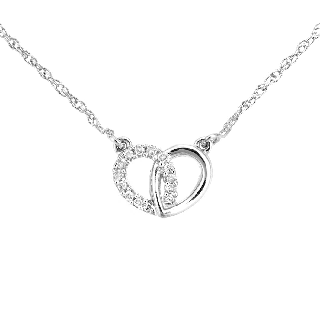 9ct White Gold Diamond Linked Hearts Necklet of Length 42cm