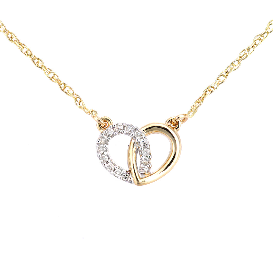 9ct Yellow Gold Diamond Linked Hearts Necklet of Length 42cm