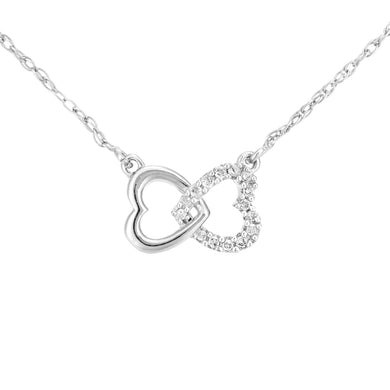 9ct White Gold Diamond Linked Hearts Pendant Necklet of Length 42cm