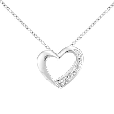 9ct White Gold Diamond Heart Pendant and Chain of Length 46cm